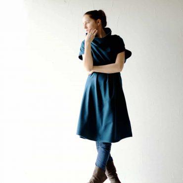 Abito in lana blu petrolio