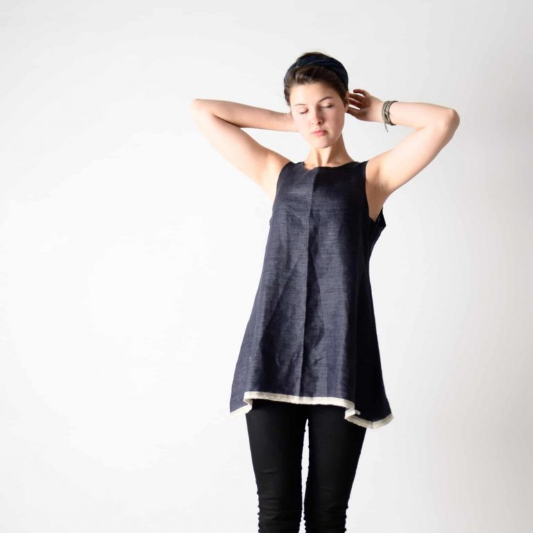 Blue Linen Tunic Top