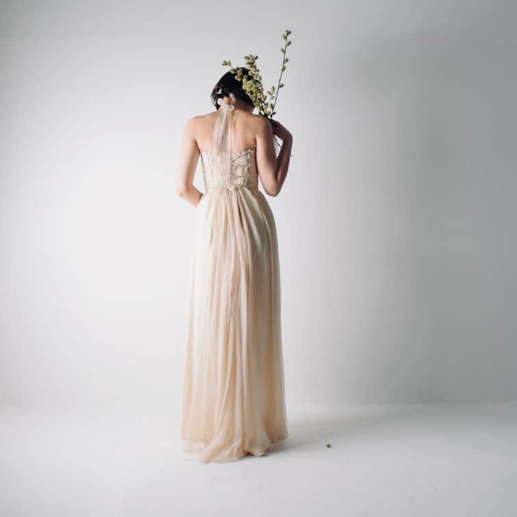 Rustic boho wedding dress for outdoor beach weddings, handmade in italy