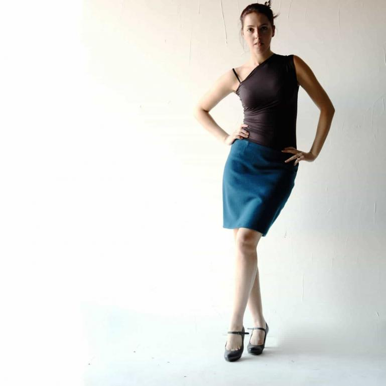 Teal Blue Wool Skirt