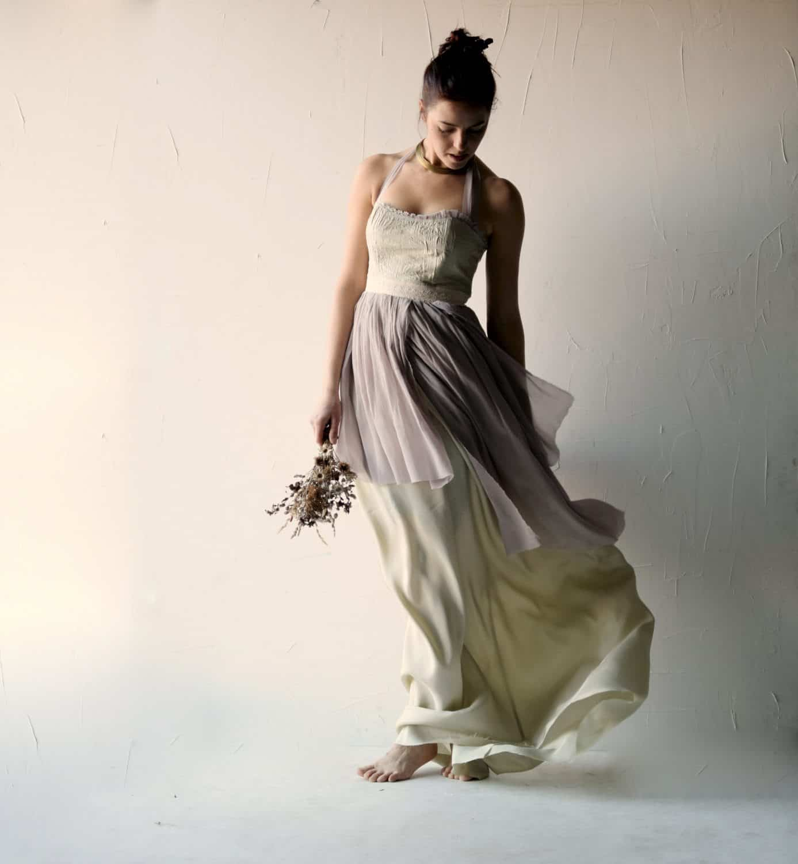 Salvia romantic fairy wedding dress larimeloom for Alternative dresses for weddings