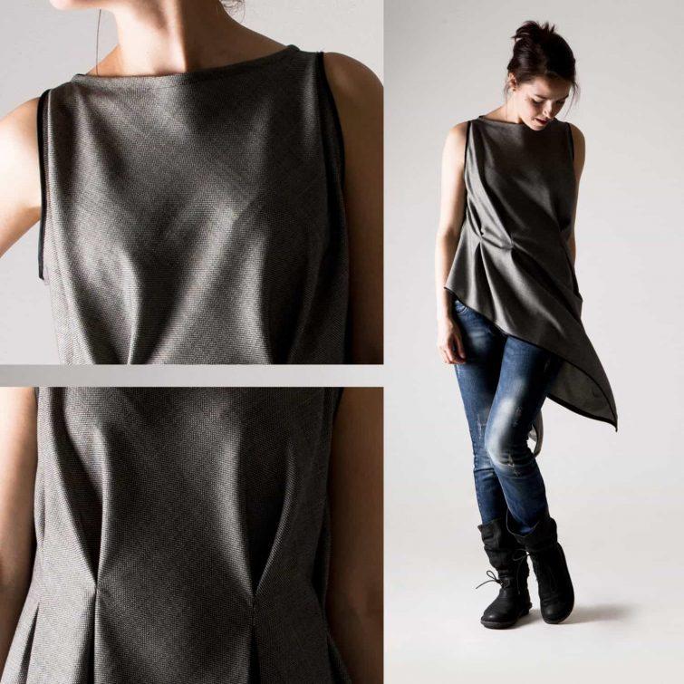 Grey Wool Asymmetrical Top