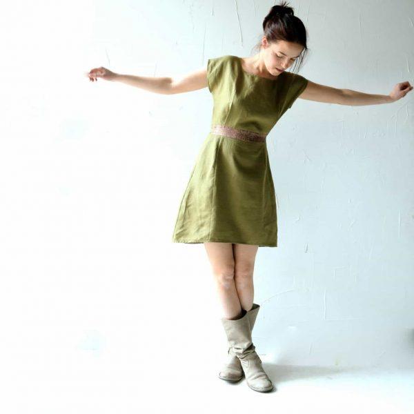 Olive Linen Dress