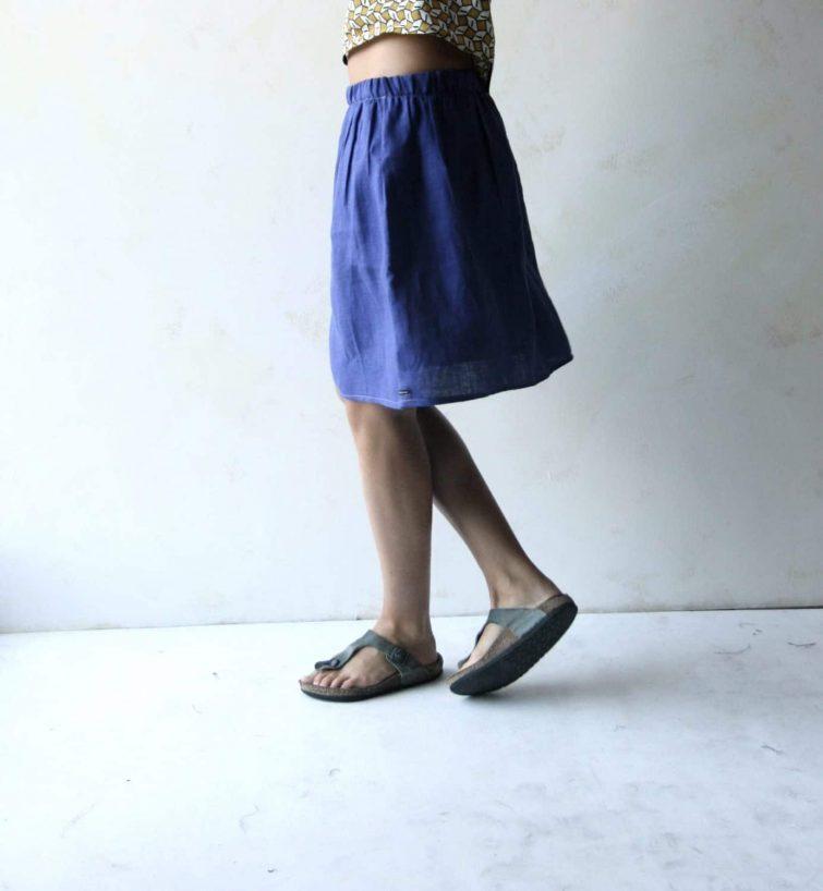 Gathered Linen Skirt