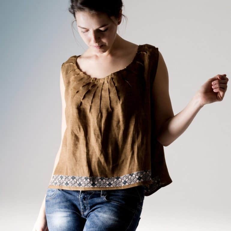 Brown Linen Crop Top