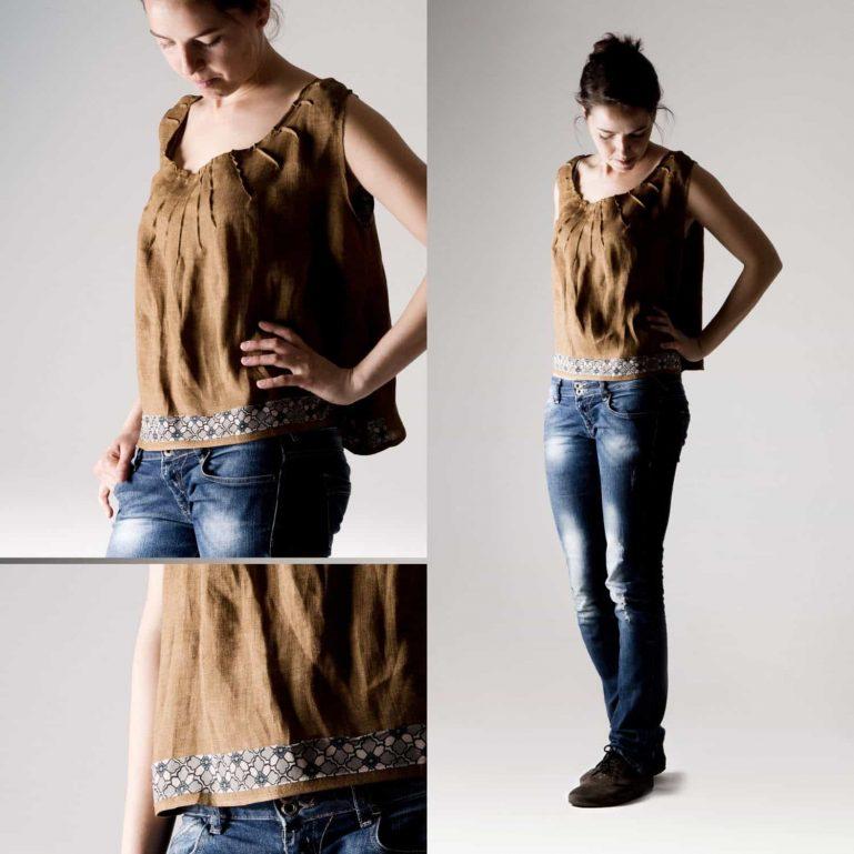 Brown Linen Crop Top