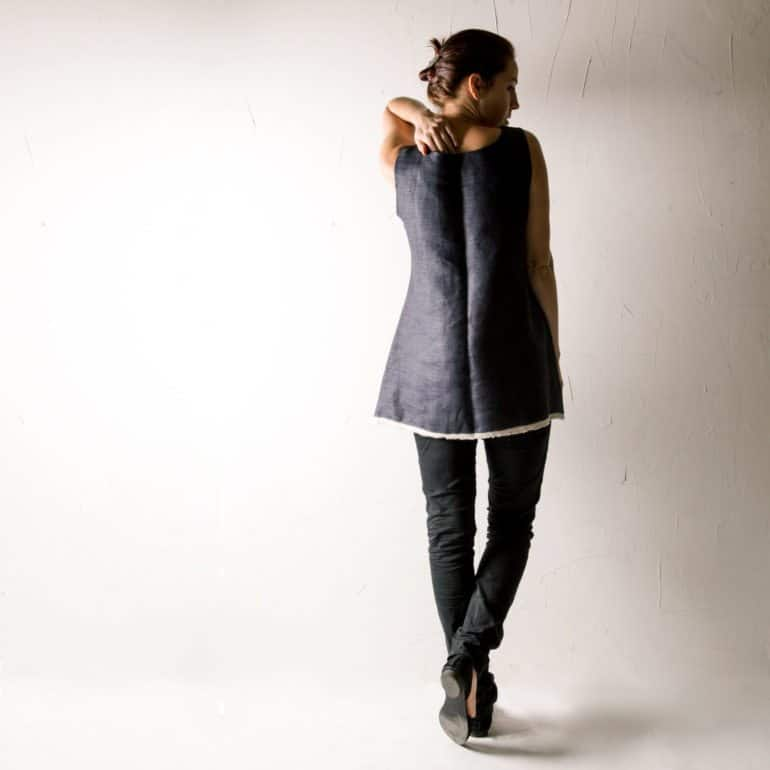Blue Linen Tunic Top