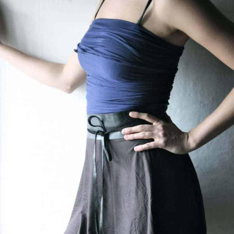 Black leather obi belt