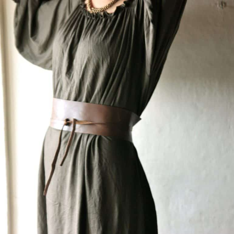 Brown Leather Obi Belt