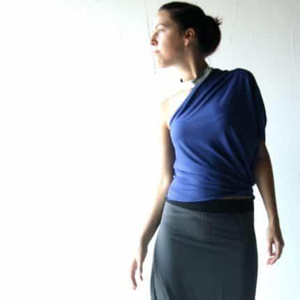 Blue Asymmetrical Blouse