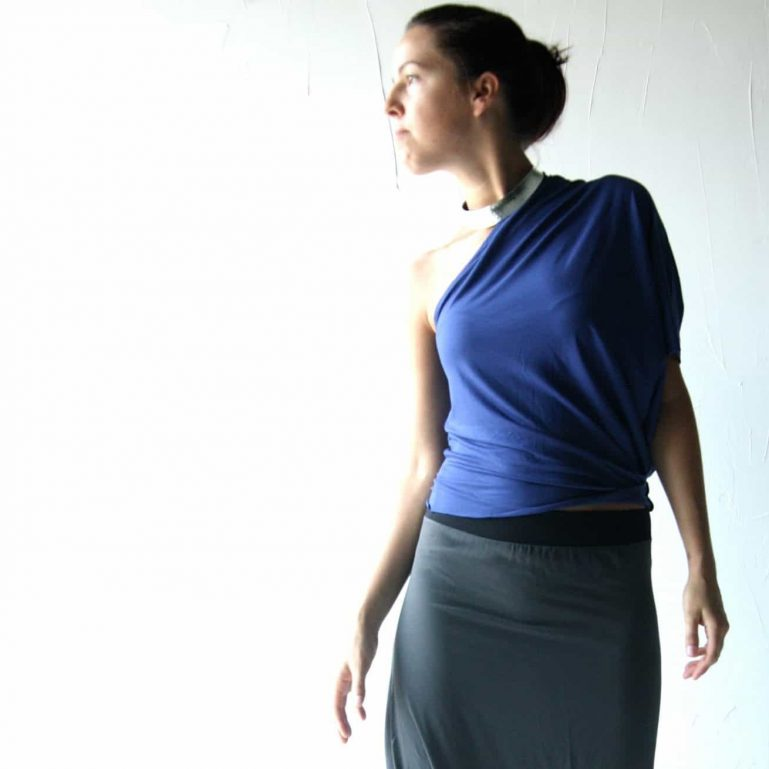 Blue Asymmetrical Blouse