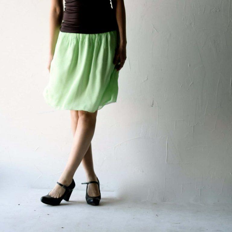 Green Silk Skirt