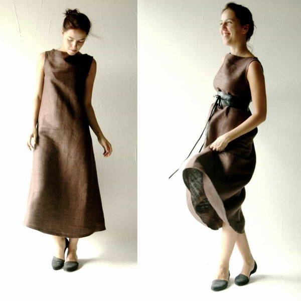 Brown Silk Shift Dress