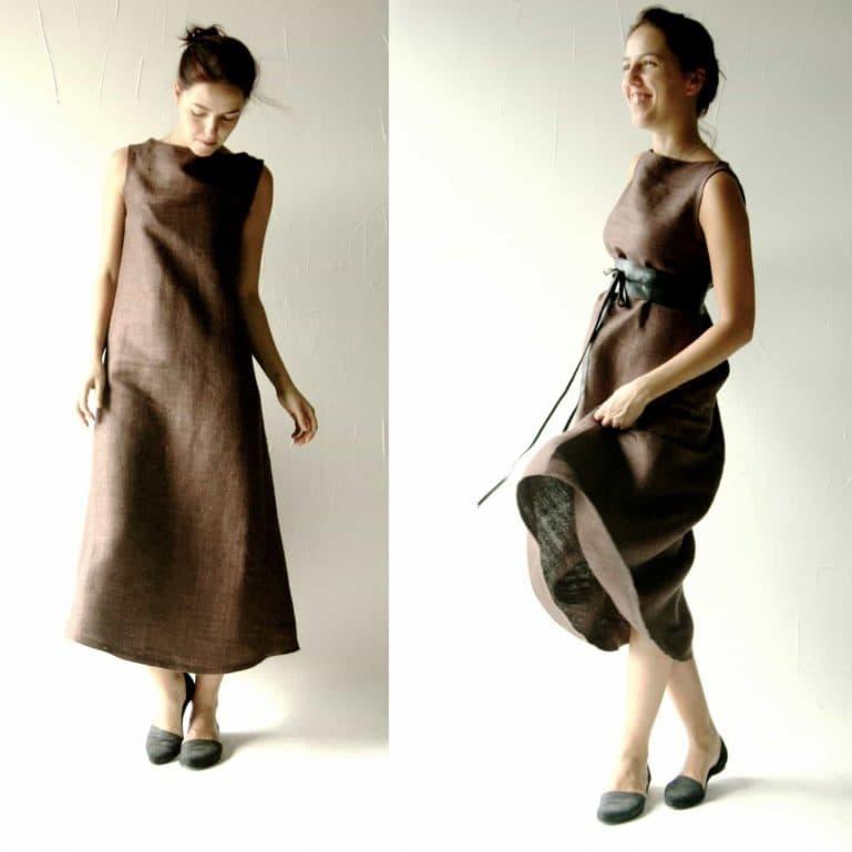 Brown Silk Shift Dress