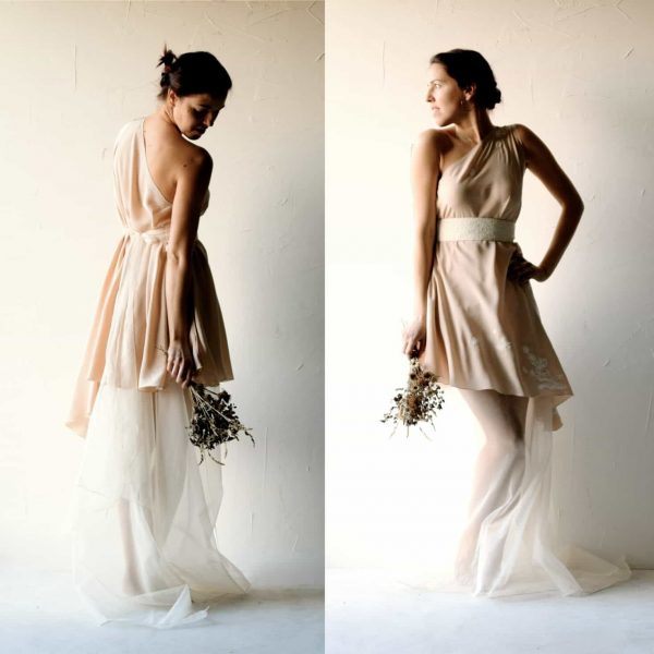 Vicia ~ Asymmetrical Blush Wedding Dress