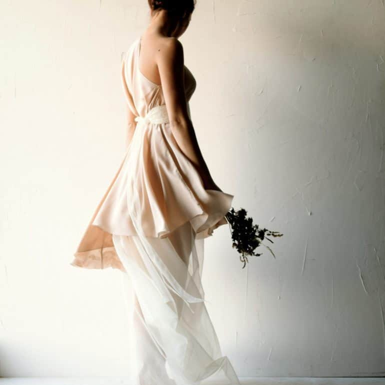 Vicia ~ Asymmetrical Blush Wedding Dress
