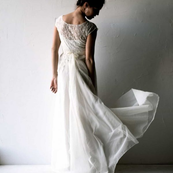 Galanthus ~ Delicate Silk Wedding Dress