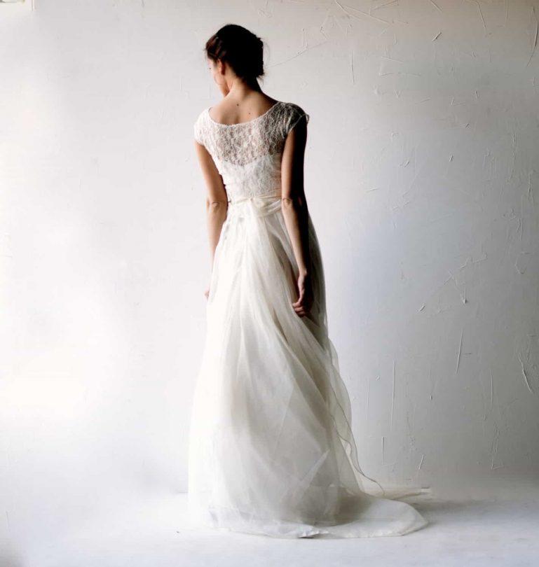 Galanthus ~ Delicate Silk Wedding Dress