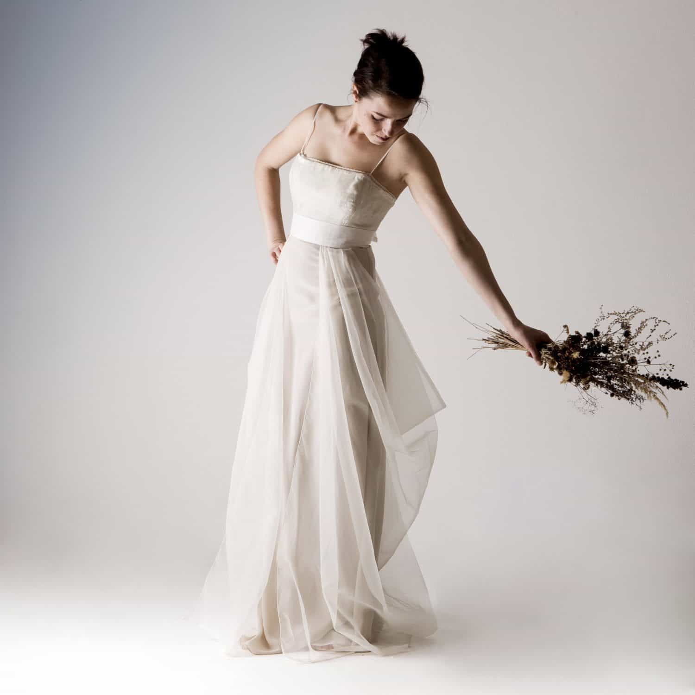 Potentilla ~ Silk Wedding Dress - Larimeloom Italian Handmade Clothing