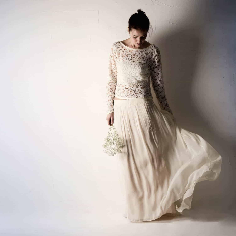 Anemone chiffon wedding skirt larimeloom handmade clothing for Unique bohemian wedding dresses