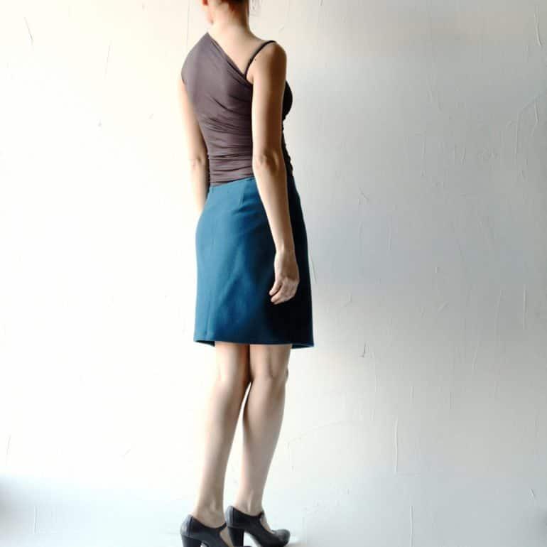 Teal Blue Wool Skirt
