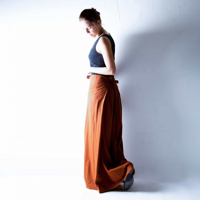 Rust Wool Maxi Skirt