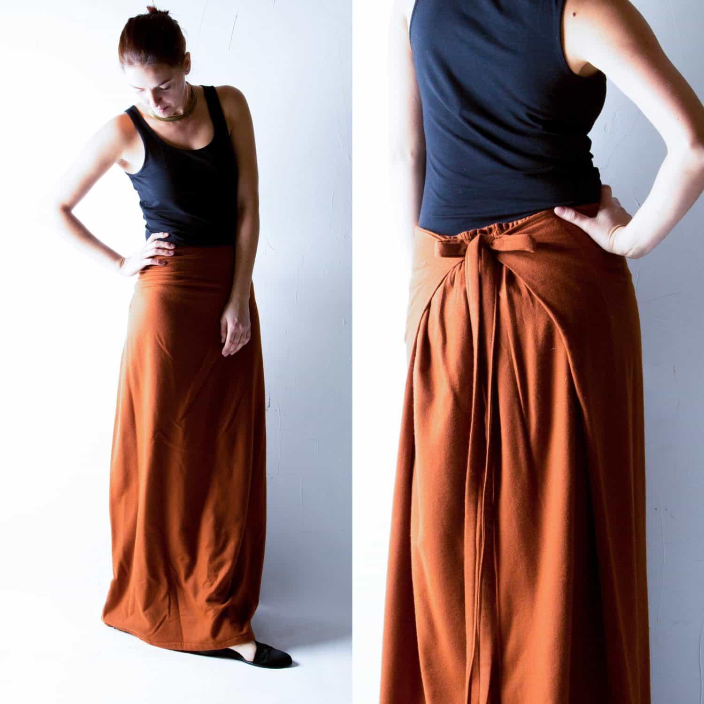 Rust Wool Maxi Skirt Larimeloom Italian Handmade Clothing