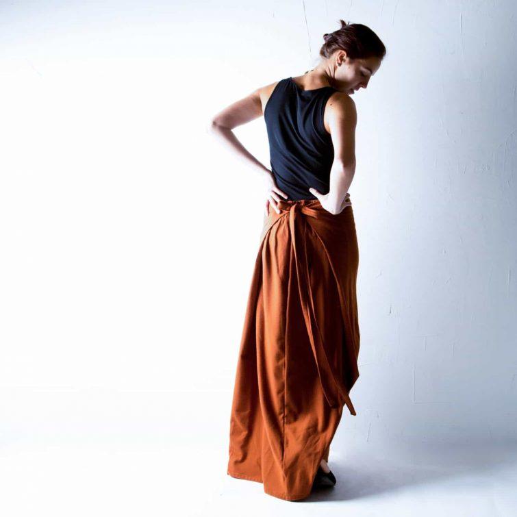Rust Wool Maxi Skirt