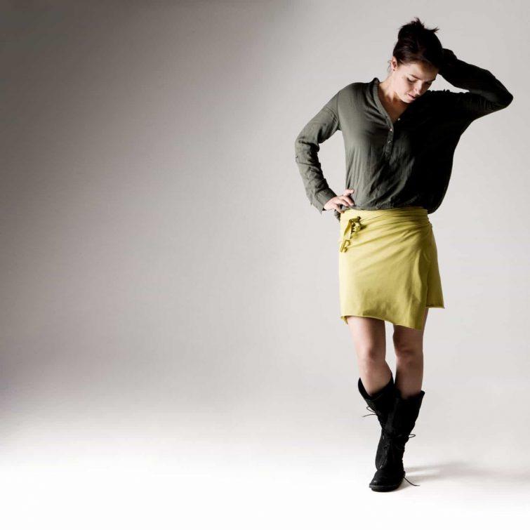 Short Cotton Wrap Skirt