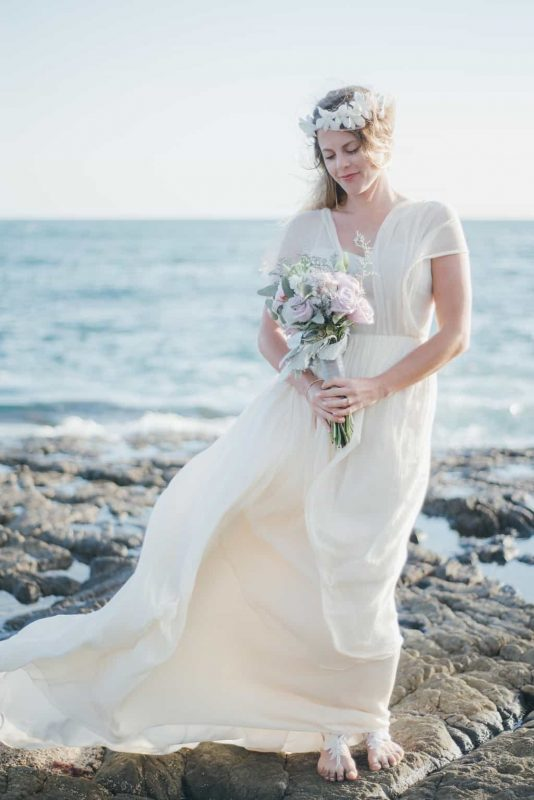 angelic real bride on the beach