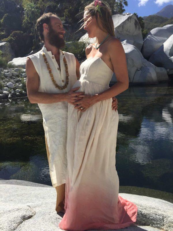 hippie blush dip dye wedding dress