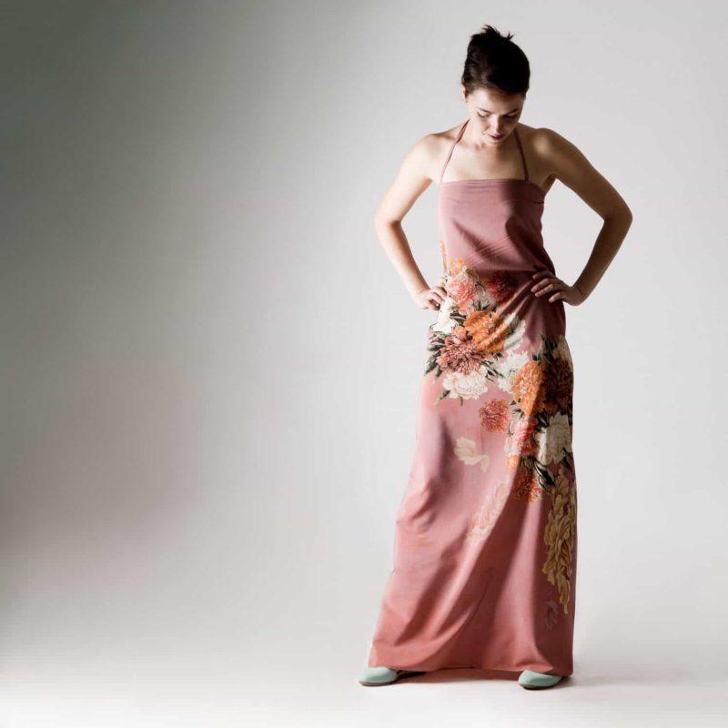 Peony silk dress