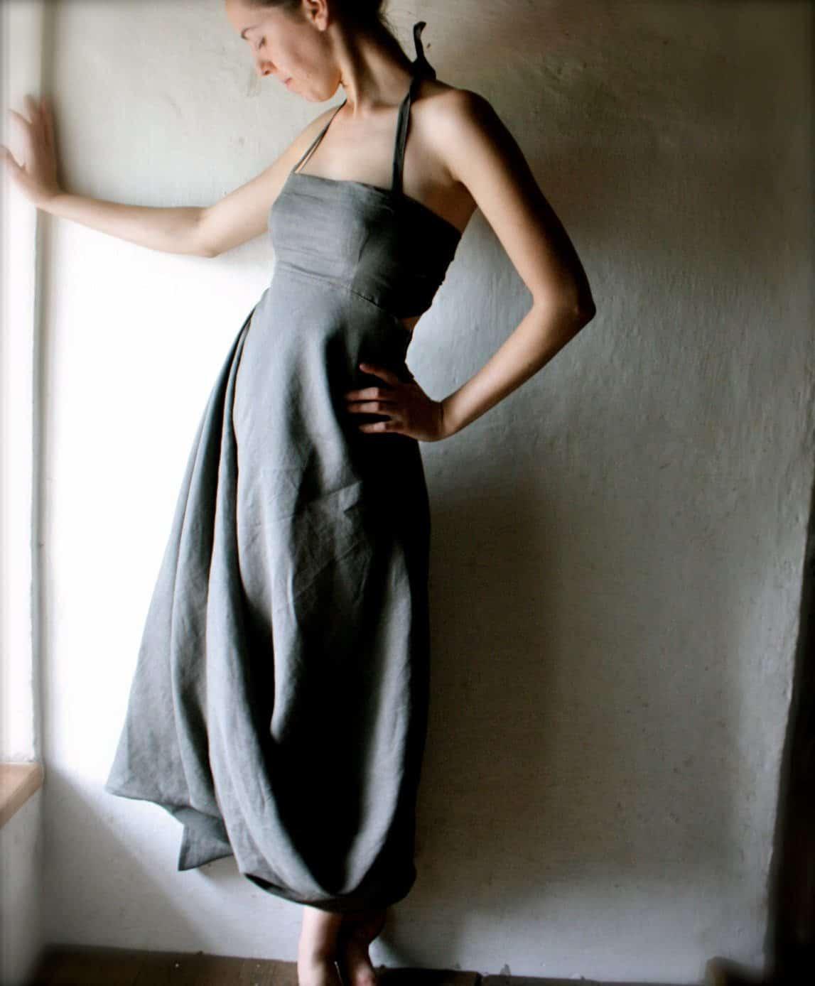draped linen dress
