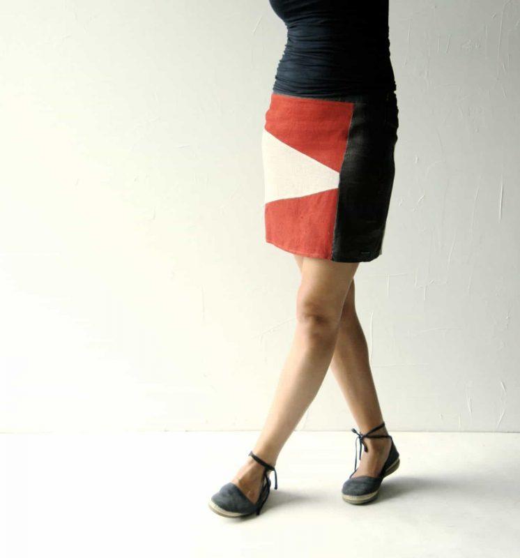 color-blocked linen skirt