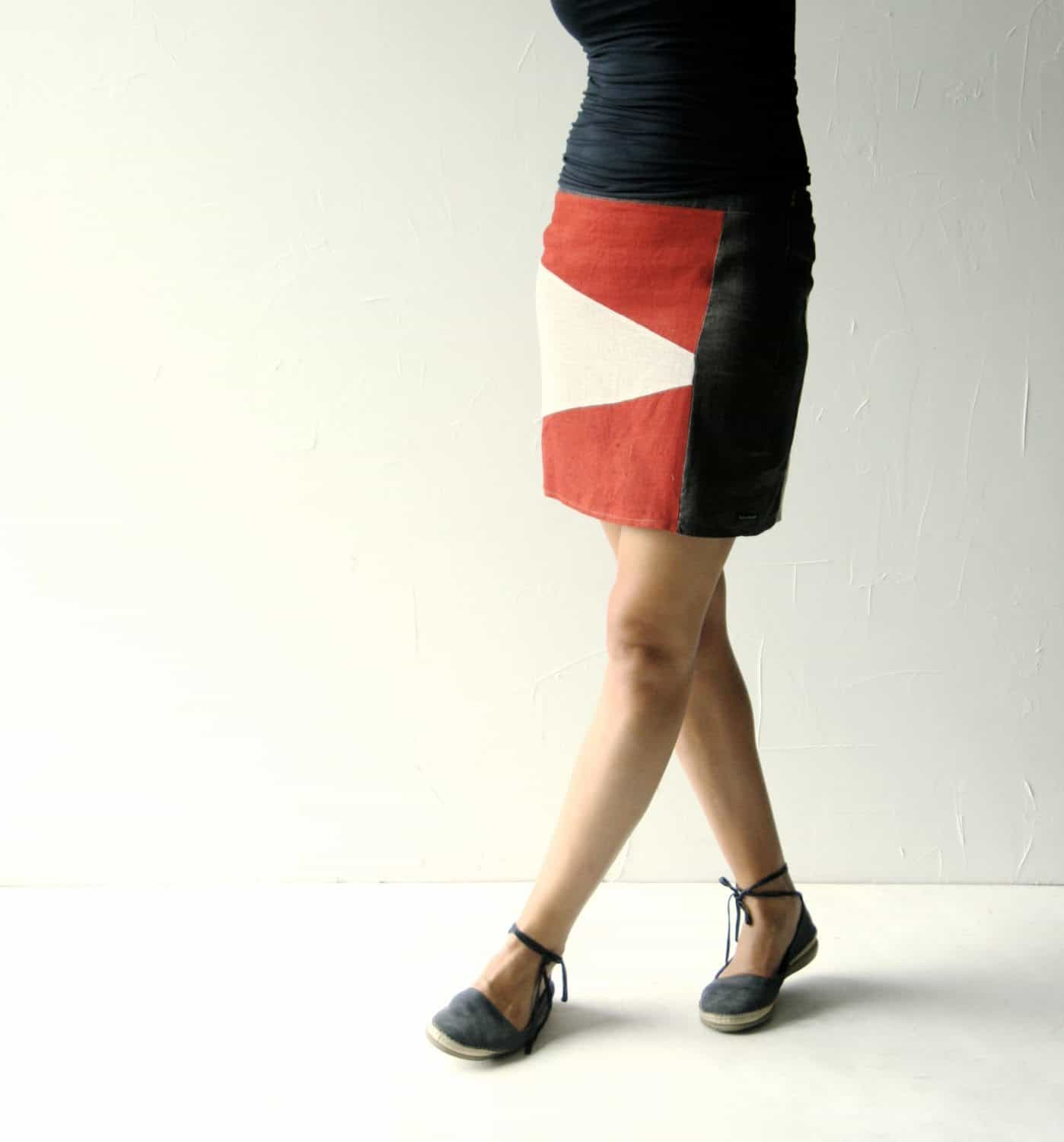 color-blocked linen skirt