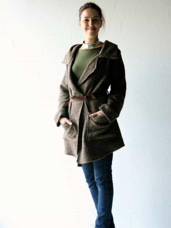 brown oversized coat
