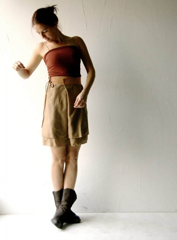 brown silk and leather skirt