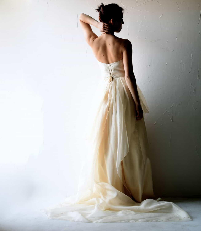 Champagne bohemian wedding dress