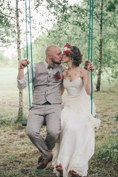 real bride on swing