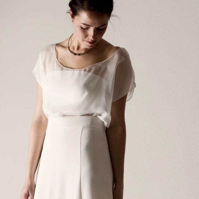 Sheer silk chiffon wedding blouse