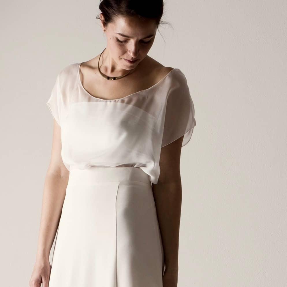 Hortensia ~ Sheer silk chiffon wedding blouse