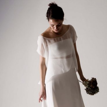 Sheer silk chiffon wedding blouse