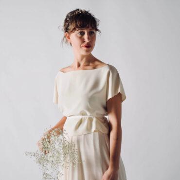 Silk crepe de chine wedding dress separates blouse