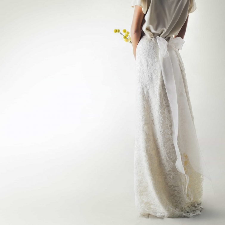 Lace and silk bridal skirt