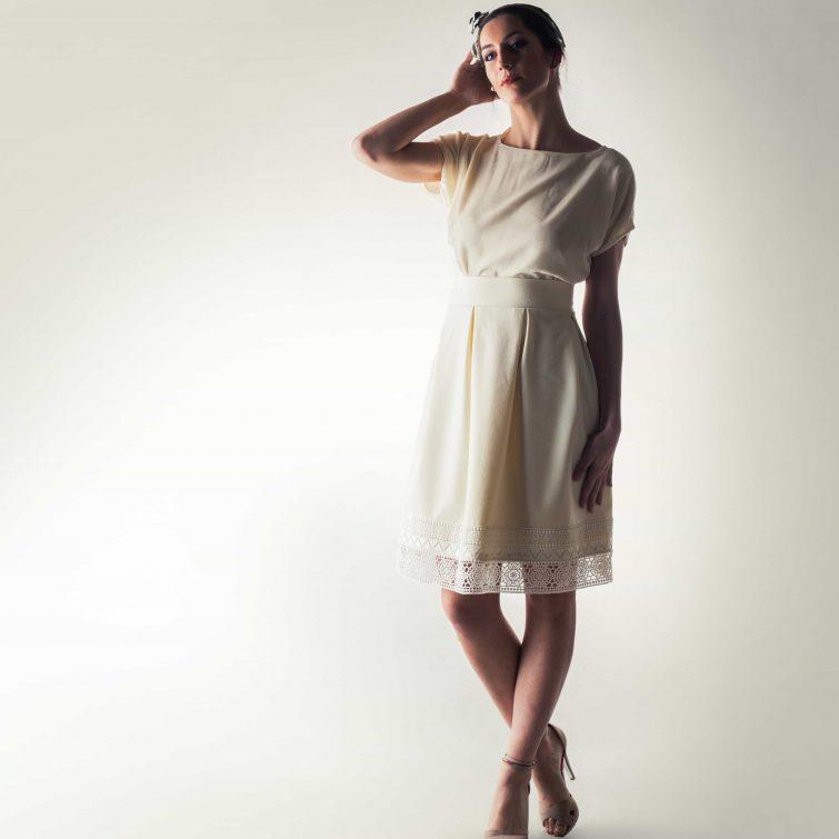 Short wool wedding skirt