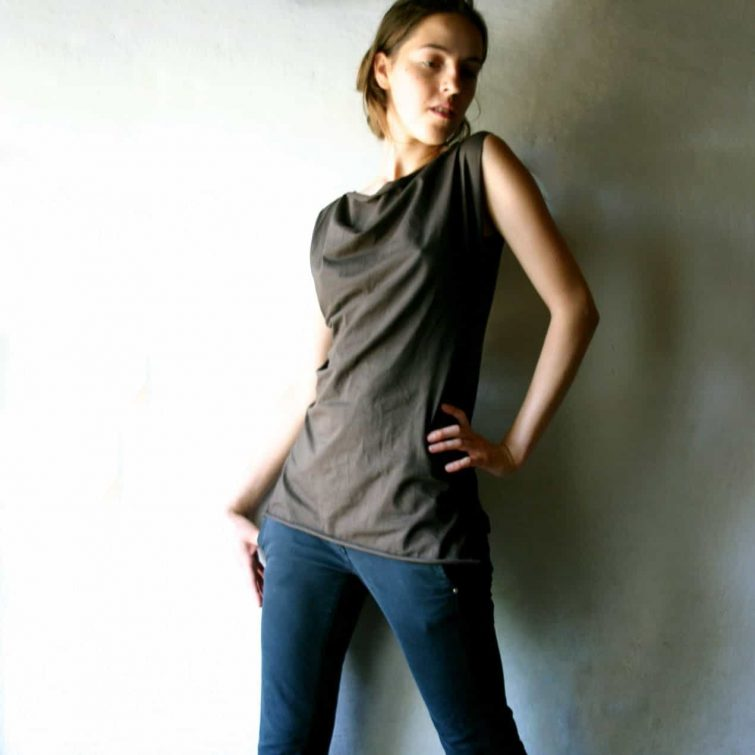 Simple cotton sleeveless blouse