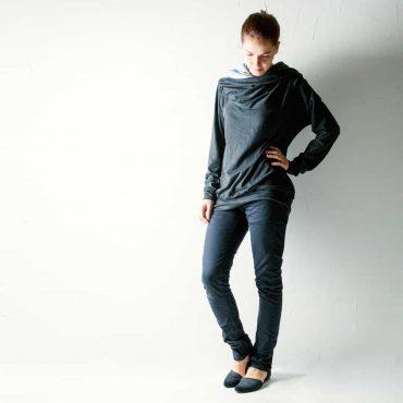 Draped cowl cotton sweatshirt