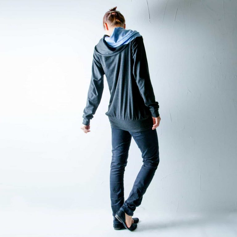 Draped cowl cotton sweatshirt