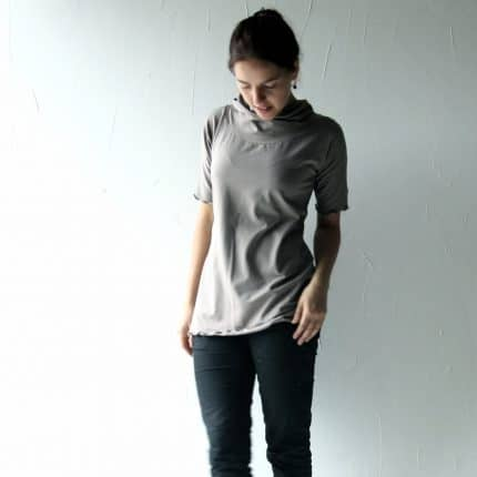 Cotton tshirt, grey top, Womens top, Womens clothing, Jersey top, Blouse, Cowl top, Tunic top, Jersey blouse, Short sleeve, Yoga top