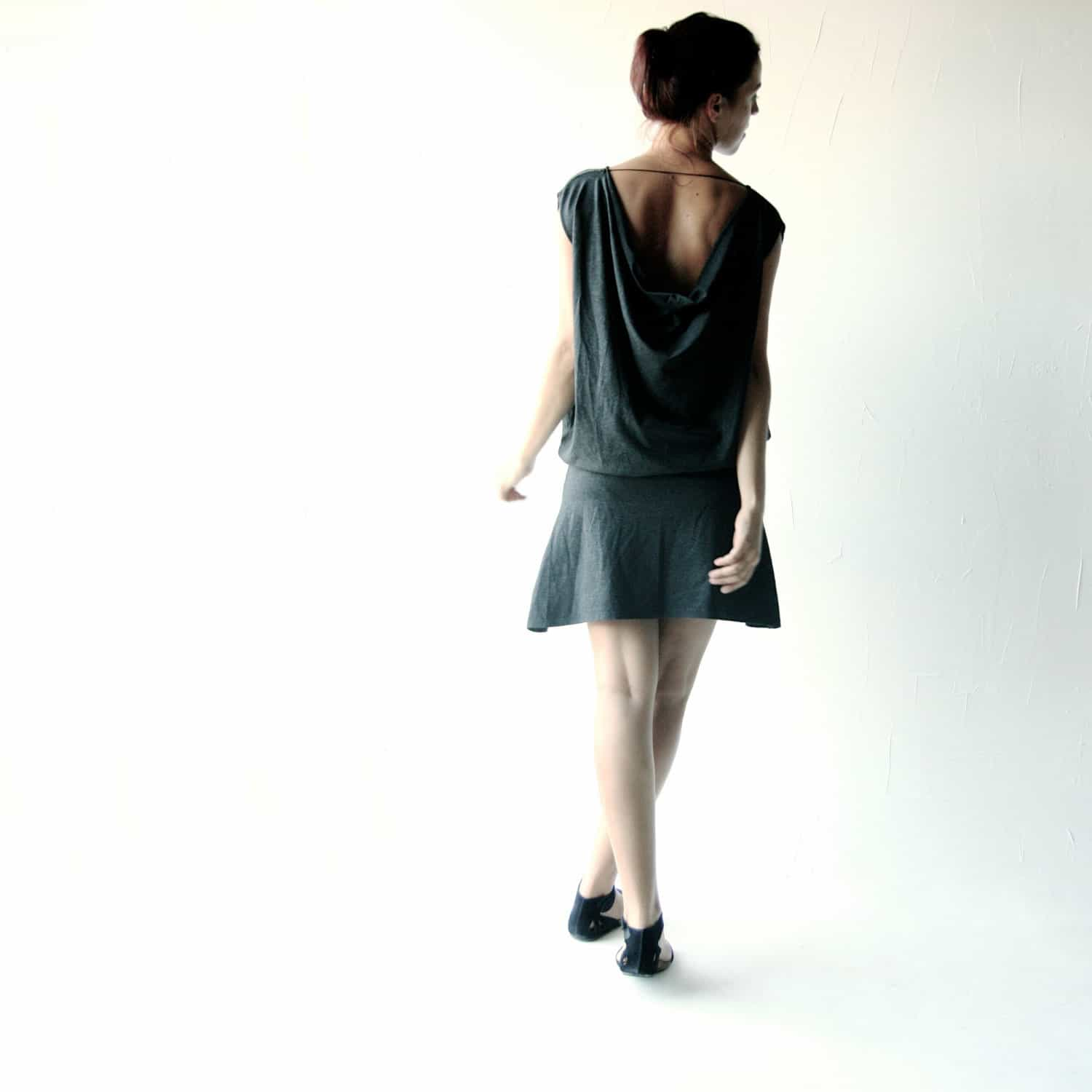 Draped short cotton dress